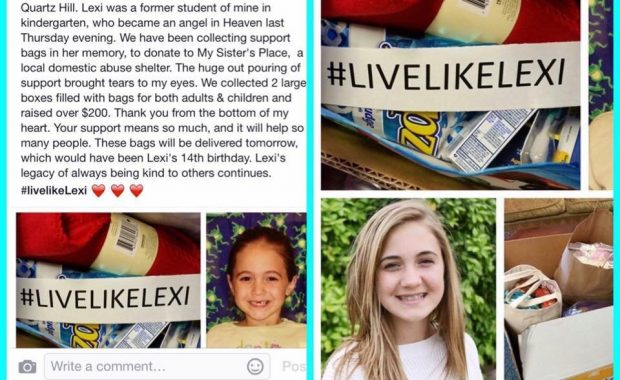 November 19, 2015 #LiveLikeLexi donations in honor of Lexi